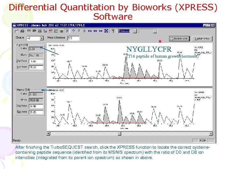 Differential Quantitation by Bioworks (XPRESS) Software * NYGLLYCFR (T 16 peptide of human growth