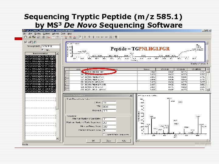 Sequencing Tryptic Peptide (m/z 585. 1) by MS 3 De Novo Sequencing Software Peptide