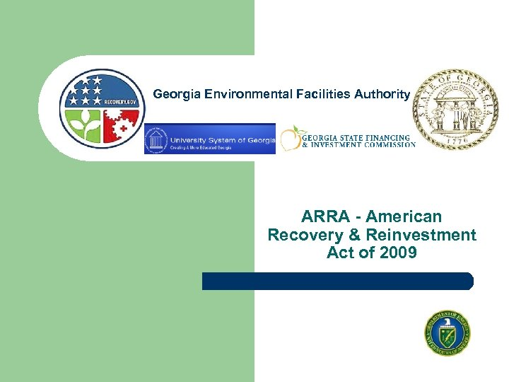 Georgia Environmental Facilities Authority ARRA - American Recovery & Reinvestment Act of 2009