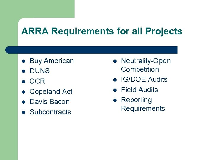 ARRA Requirements for all Projects l l l Buy American DUNS CCR Copeland Act