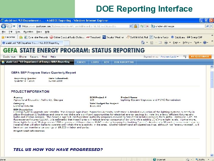 DOE Reporting Interface