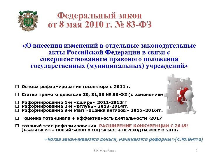 Федеральный закон от 8 мая 2010 г. № 83 -ФЗ «О внесении изменений в