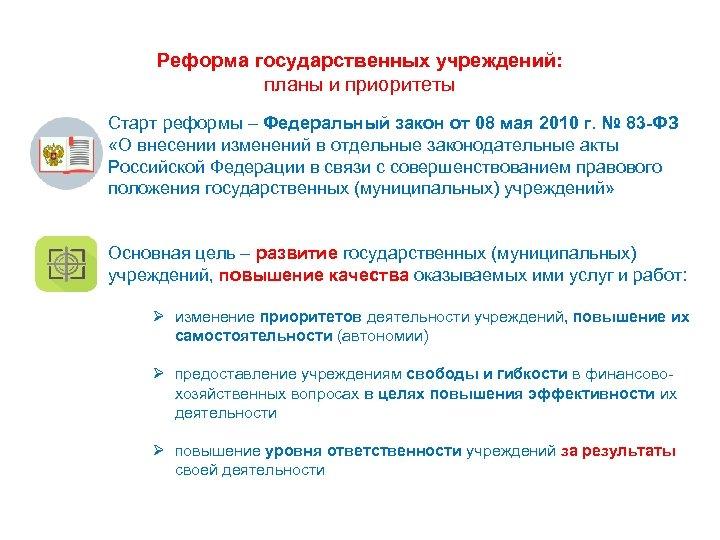 3 Реформа государственных учреждений: планы и приоритеты Старт реформы – Федеральный закон от 08