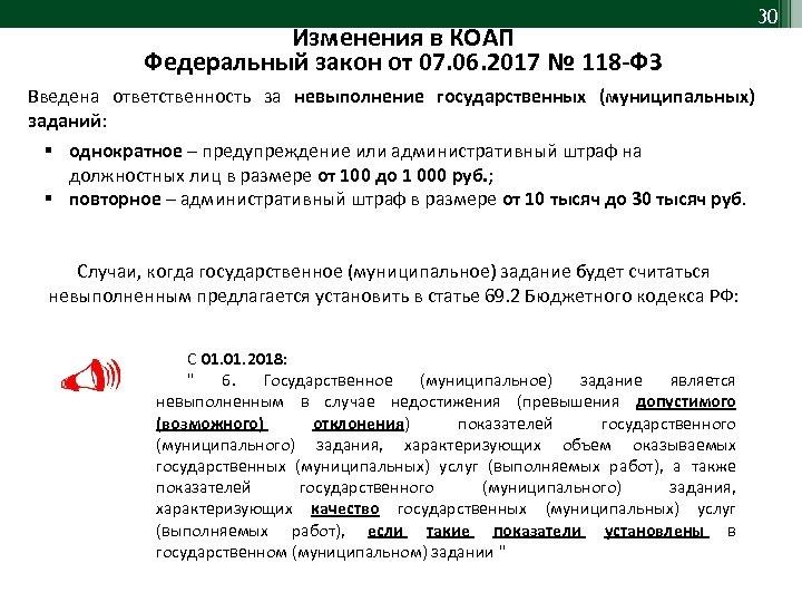 Изменения в КОАП Федеральный закон от 07. 06. 2017 № 118 -ФЗ 30 Введена