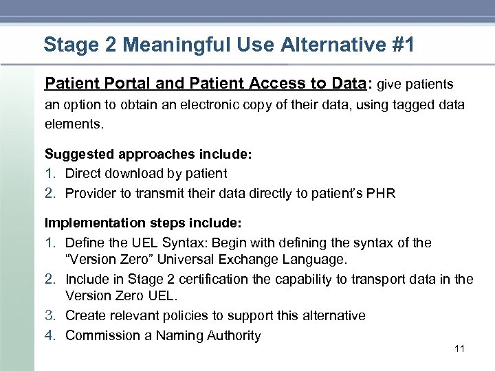 Stage 2 Meaningful Use Alternative #1 Patient Portal and Patient Access to Data: give