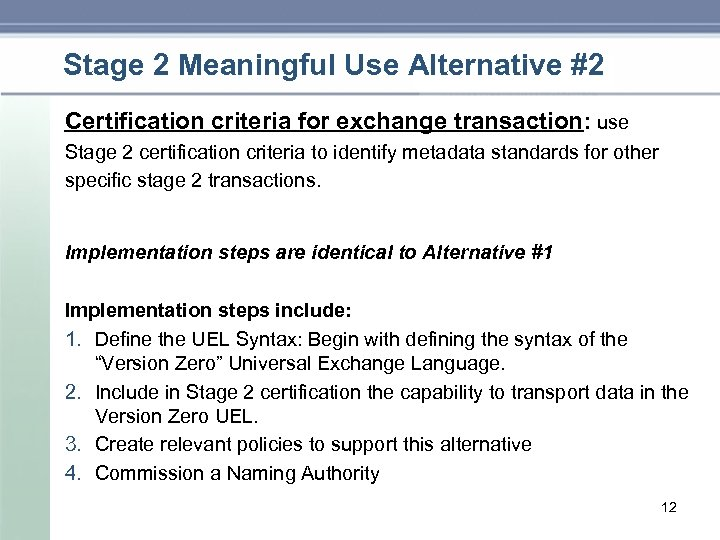 Stage 2 Meaningful Use Alternative #2 Certification criteria for exchange transaction: use Stage 2