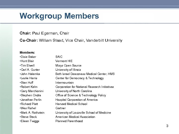 Workgroup Members Chair: Paul Egerman, Chair Co-Chair: William Stead, Vice Chair, Vanderbilt University Members:
