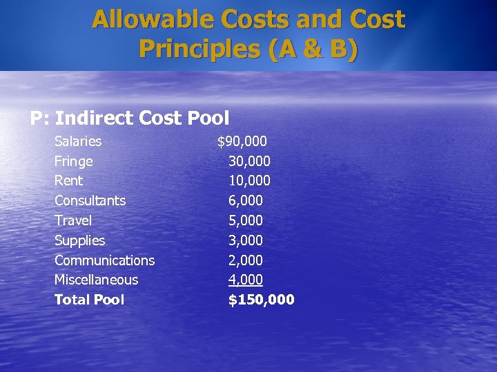 Allowable Costs and Cost Principles (A & B) P: Indirect Cost Pool Salaries Fringe