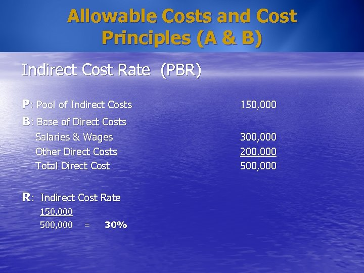 Allowable Costs and Cost Principles (A & B) Indirect Cost Rate (PBR) P: Pool