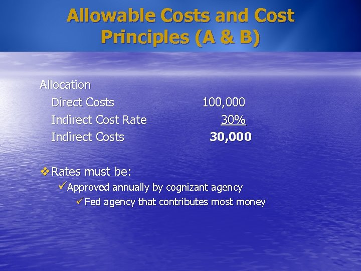 Allowable Costs and Cost Principles (A & B) Allocation Direct Costs Indirect Cost Rate
