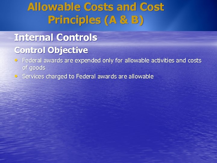 Allowable Costs and Cost Principles (A & B) Internal Controls Control Objective • Federal