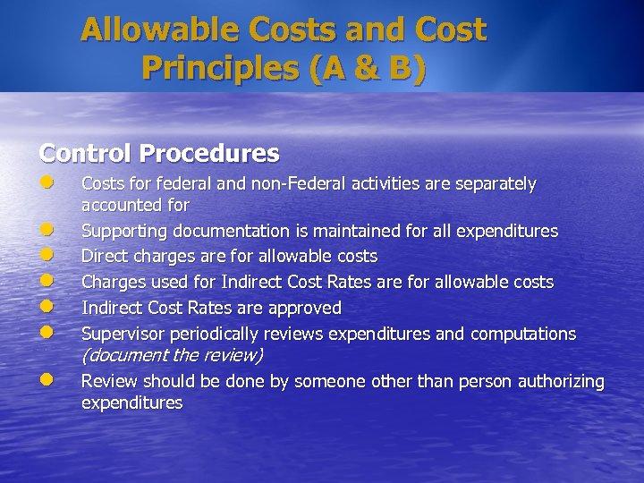 Allowable Costs and Cost Principles (A & B) Control Procedures l l l l