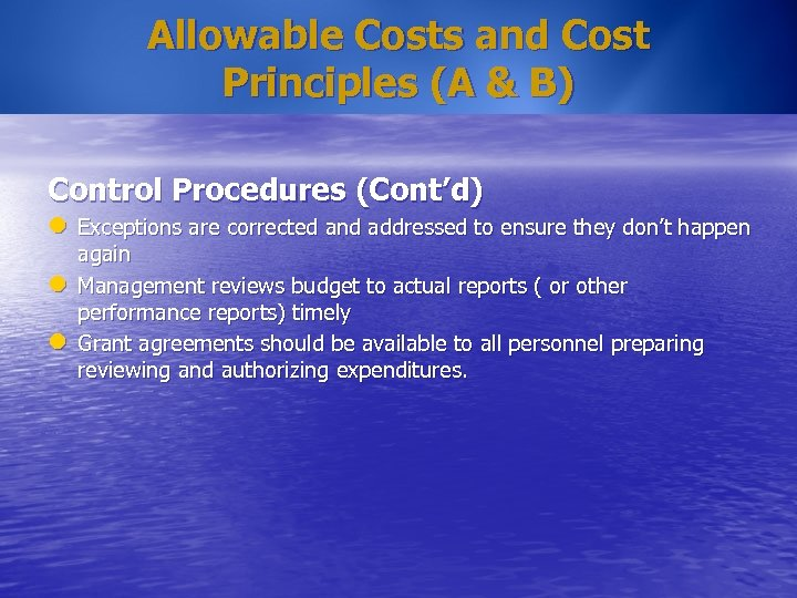 Allowable Costs and Cost Principles (A & B) Control Procedures (Cont'd) l Exceptions are