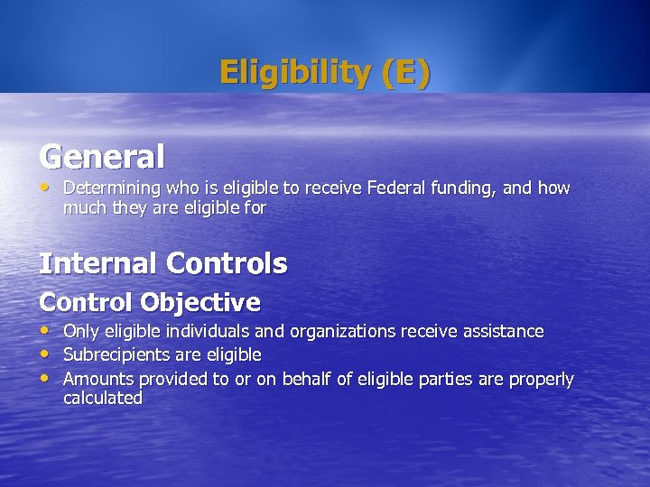 Eligibility (E) General • Determining who is eligible to receive Federal funding, and how