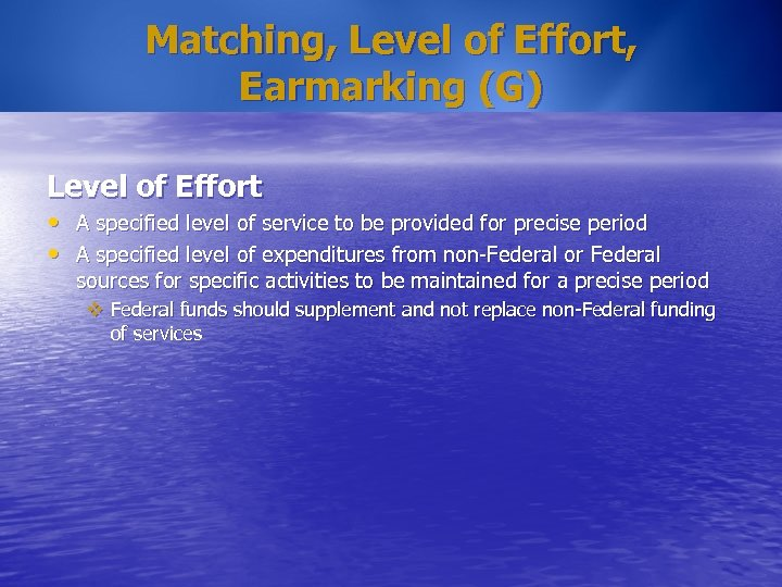Matching, Level of Effort, Earmarking (G) Level of Effort • A specified level of