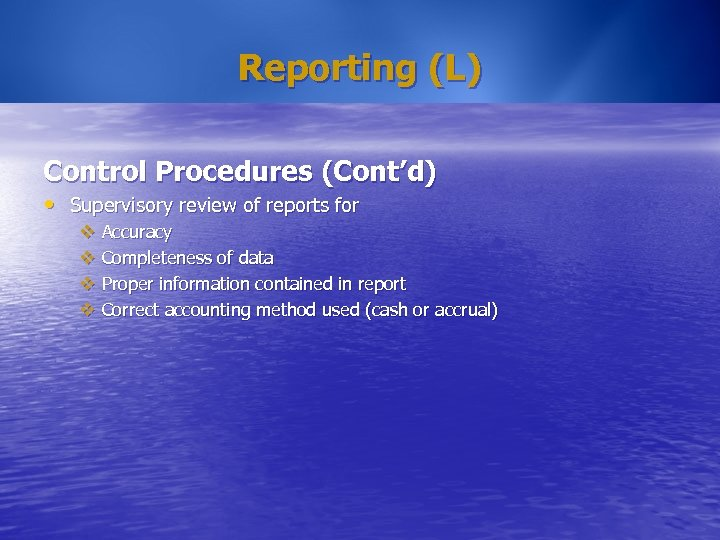 Reporting (L) Control Procedures (Cont'd) • Supervisory review of reports for v Accuracy v