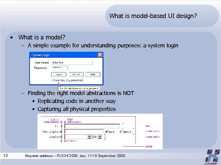 What is model-based UI design? • What is a model? – A simple example
