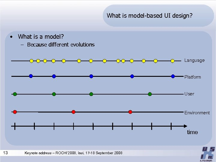What is model-based UI design? • What is a model? – Because different evolutions