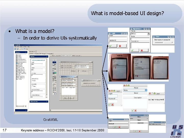 What is model-based UI design? • What is a model? – In order to