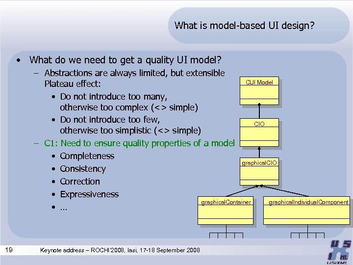 What is model-based UI design? • What do we need to get a quality
