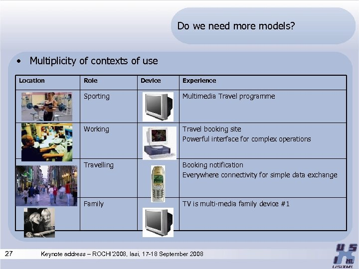 Do we need more models? • Multiplicity of contexts of use Location Role Device