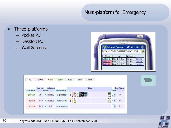 Multi-platform for Emergency • Three platforms – Pocket PC – Desktop PC – Wall