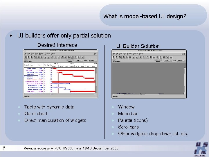 What is model-based UI design? • UI builders offer only partial solution Desired Interface
