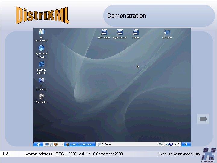 Demonstration 52 Keynote address – ROCHI' 2008, Iasi, 17 -18 September 2008 [Grolaux &
