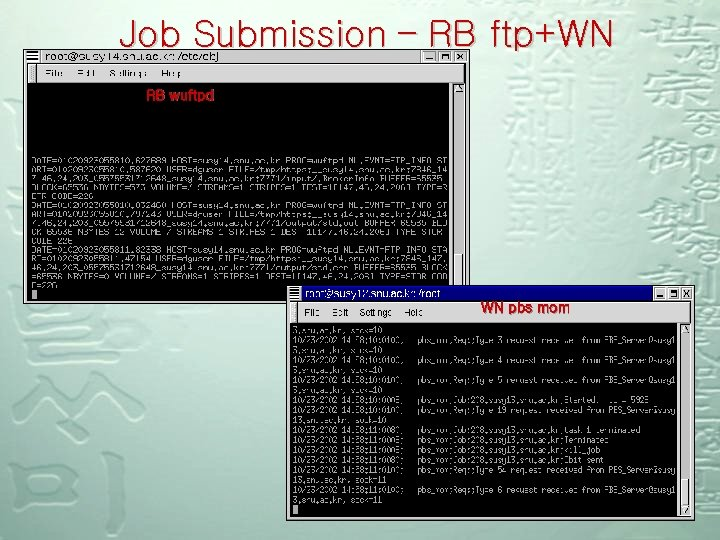 Job Submission – RB ftp+WN RB wuftpd WN pbs mom