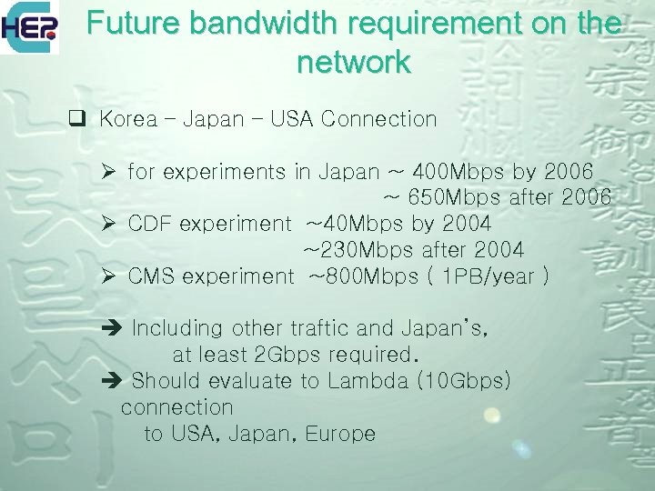 Future bandwidth requirement on the network q Korea – Japan – USA Connection Ø