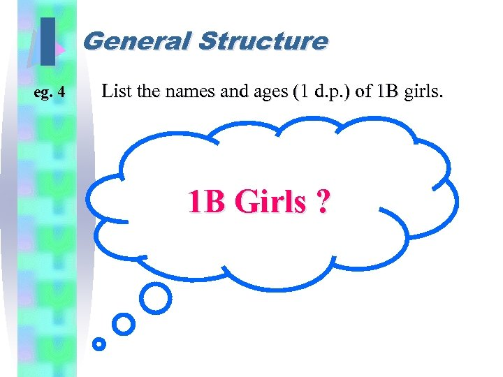 I eg. 4 General Structure List the names and ages (1 d. p. )
