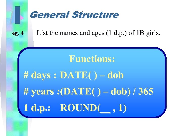 I General Structure eg. 4 List the names and ages (1 d. p. )