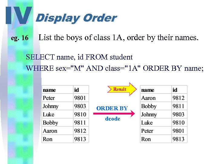 IV Display Order eg. 16 List the boys of class 1 A, order by