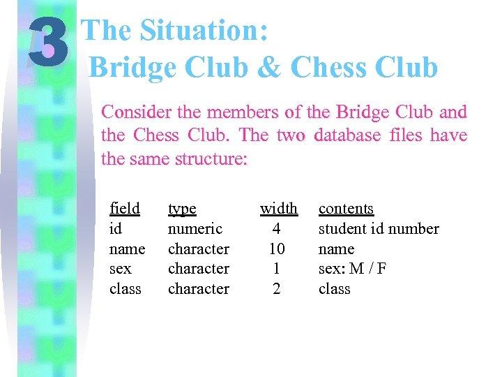 3 The Situation: Bridge Club & Chess Club Consider the members of the Bridge