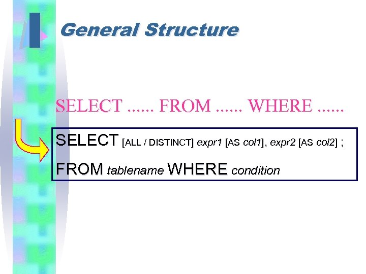 I General Structure SELECT. . . FROM. . . WHERE. . . SELECT [ALL