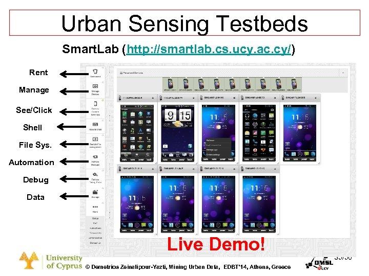Dagstuhl Seminar 10042, Demetris Zeinalipour, University of Cyprus, 26/1/2010 Urban Sensing Testbeds Smart. Lab