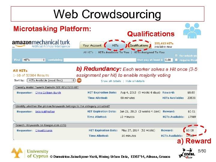 Dagstuhl Seminar 10042, Demetris Zeinalipour, University of Cyprus, 26/1/2010 Web Crowdsourcing Microtasking Platform: Qualifications