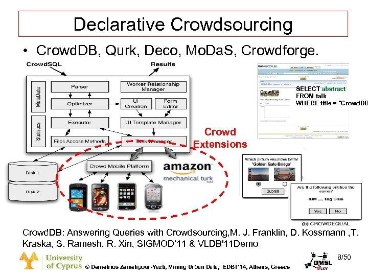 Dagstuhl Seminar 10042, Demetris Zeinalipour, University of Cyprus, 26/1/2010 Declarative Crowdsourcing • Crowd. DB,