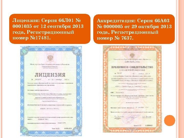 Лицензия: Серия 66 Л 01 № 0001035 от 12 сентября 2013 года, Регистрационный номер