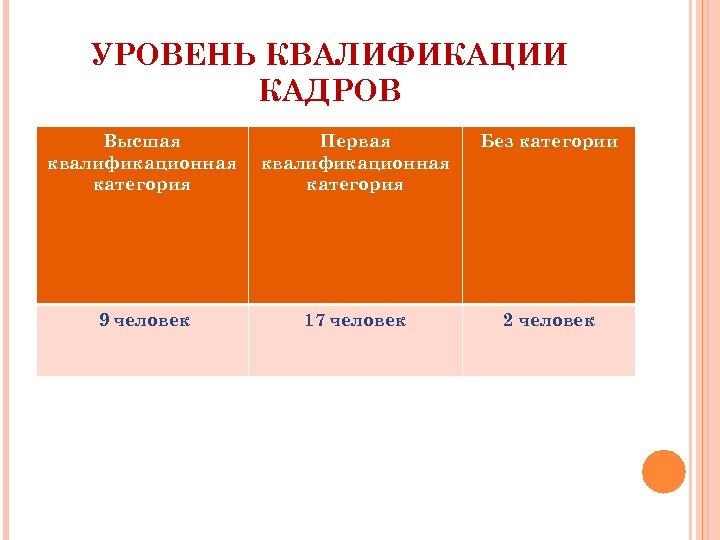 УРОВЕНЬ КВАЛИФИКАЦИИ КАДРОВ Высшая квалификационная категория Первая квалификационная категория Без категории 9 человек 17