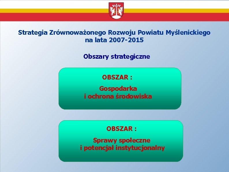Strategia Zrównoważonego Rozwoju Powiatu Myślenickiego na lata 2007 -2015 Obszary strategiczne OBSZAR : Gospodarka