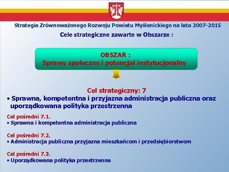 Strategia Zrównoważonego Rozwoju Powiatu Myślenickiego na lata 2007 -2015 Cele strategiczne zawarte w Obszarze