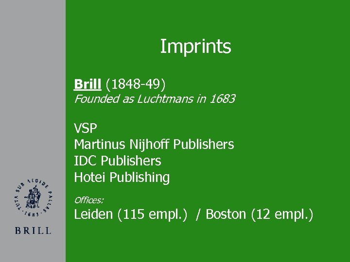 Imprints Brill (1848 -49) Founded as Luchtmans in 1683 VSP Martinus Nijhoff Publishers IDC