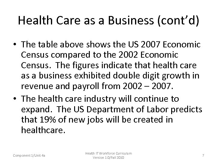 Health Care as a Business (cont'd) • The table above shows the US 2007
