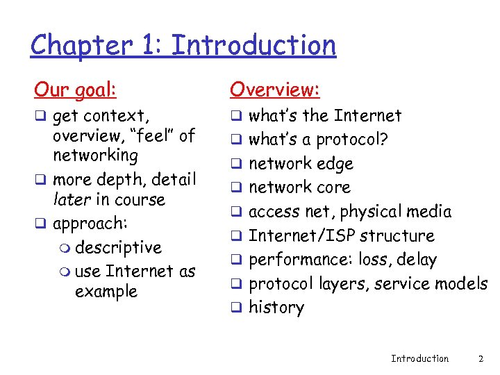 Chapter 1: Introduction Our goal: Overview: q get context, q what's the Internet overview,