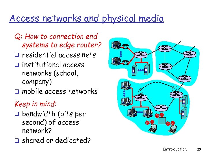 Access networks and physical media Q: How to connection end systems to edge router?