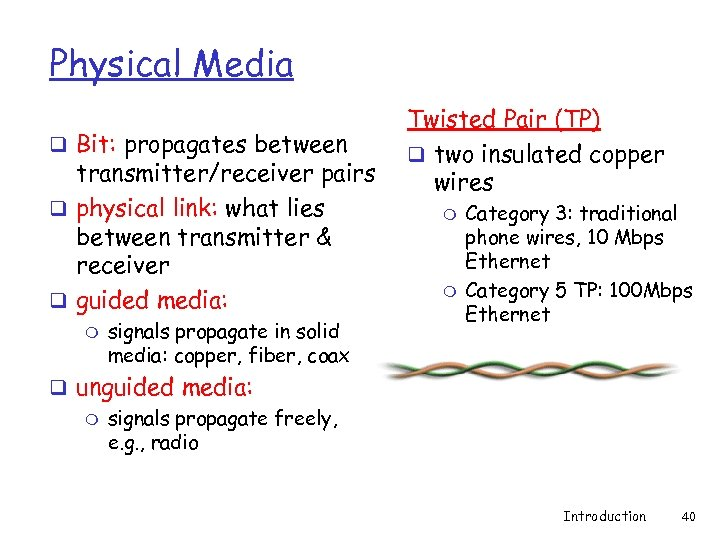 Physical Media q Bit: propagates between transmitter/receiver pairs q physical link: what lies between