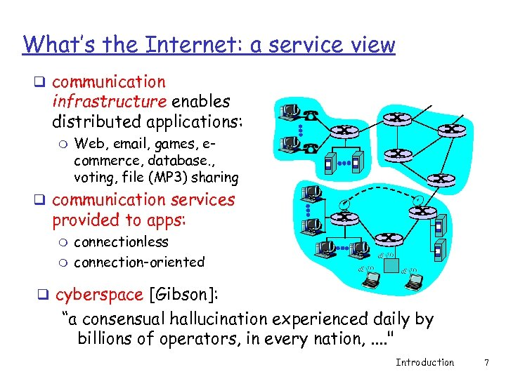 What's the Internet: a service view q communication infrastructure enables distributed applications: m Web,