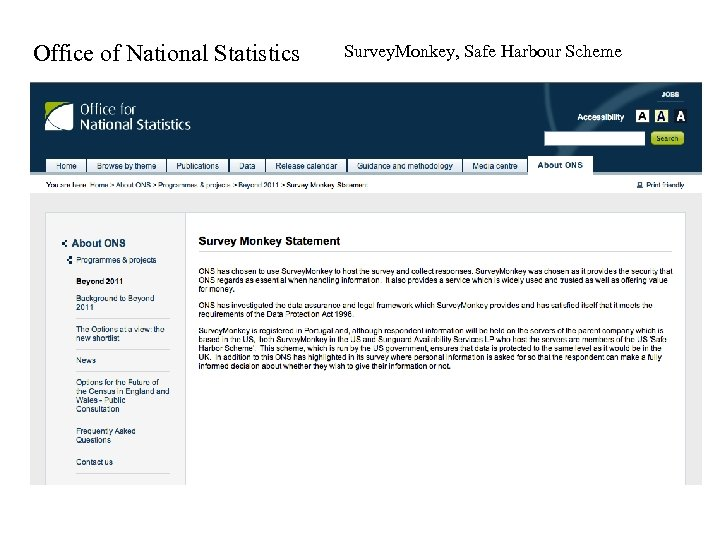 Office of National Statistics Survey. Monkey, Safe Harbour Scheme