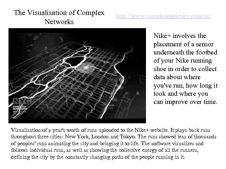 The Visualisation of Complex Networks http: //www. visualcomplexity. com/vc/ Nike+ involves the placement of